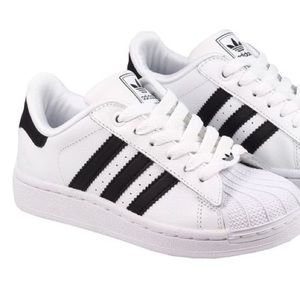 adidas black and white superstar sneakers